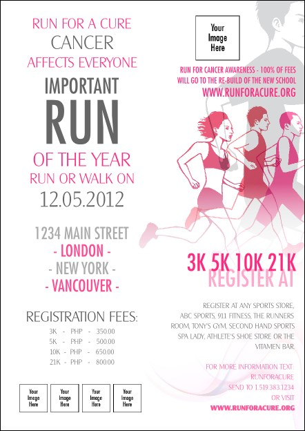 Run for a Cure Pink Postcard