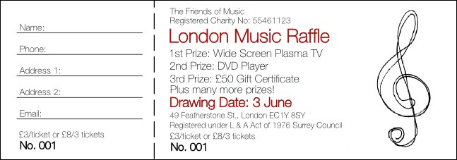 Music Festival 1 Raffle Ticket Product Front