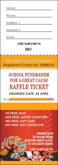 Fundraiser Education Raffle Ticket