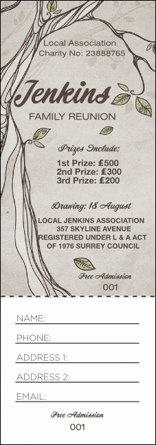 Reunion Raffle Ticket Product Front