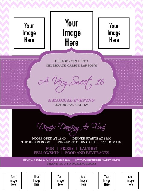 Sweet Sixteen Purple Chevron Logo Flyer