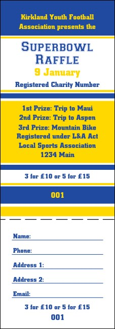Sports Blue and Yellow Raffle Ticket