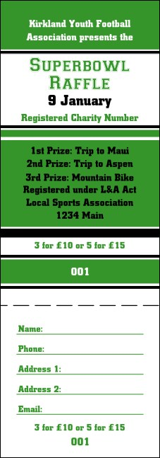 Sports Green and Black Raffle Ticket Product Front