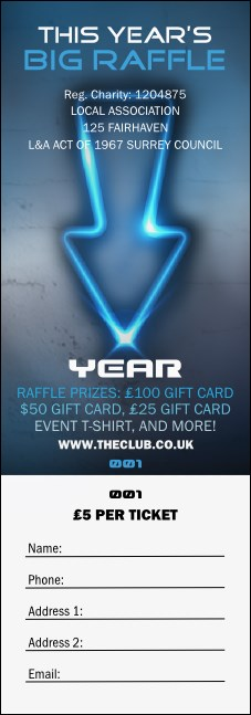Night Club Neon Raffle Ticket Product Front