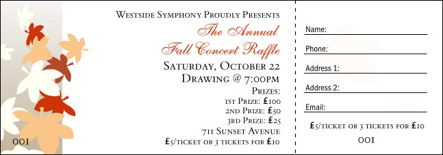 Fall Leaf  Raffle Ticket Product Front