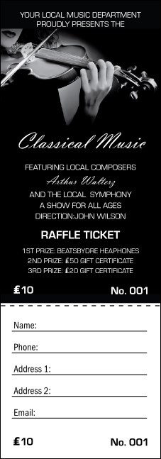 Classical Music Raffle Ticket