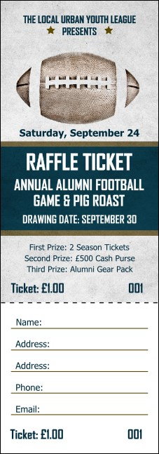 Football blue raffle ticket for 50 50 raffle tickets template