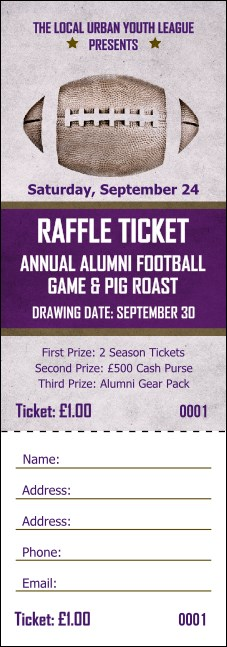 Football Purple Raffle Ticket Product Front