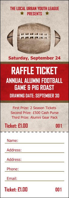 Football Red Raffle Ticket Product Front