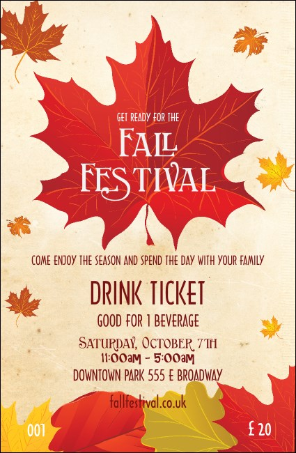 Fall Leaves Drink Ticket