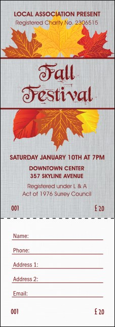 Fall Simple Raffle Ticket