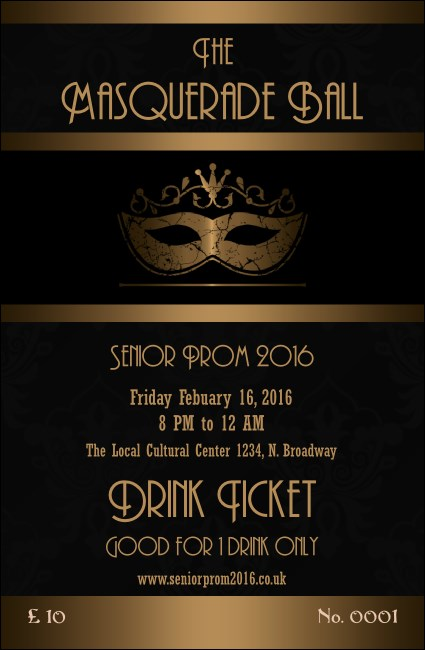 Masquerade Ball 3 Drink Ticket  Ball Ticket Template