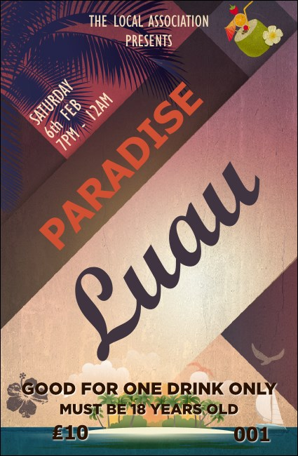 Paradise Drink Ticket Product Front