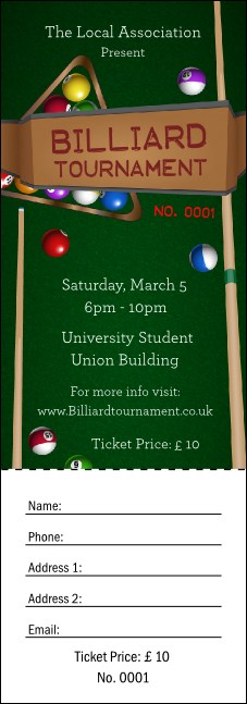 Billiard Tournament Raffle Ticket Product Front
