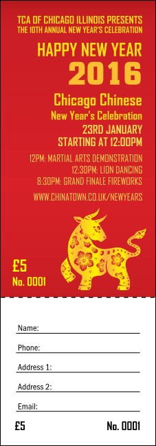 Chinese New Year Ox Raffle Ticket Product Front