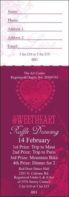 Valentines Heart Raffle Ticket Product Front