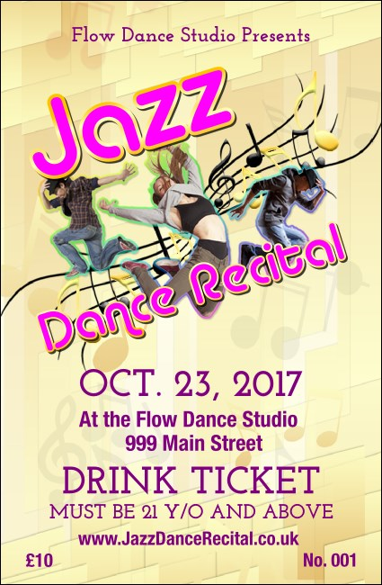 Jazz Dance Drink Ticket Product Front