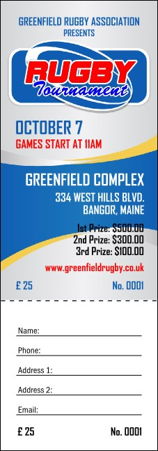 Rugby Tournament 2 Raffle Ticket