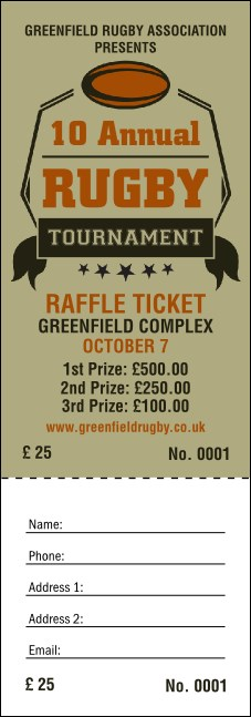 Rugby Tournament Raffle Ticket Product Front