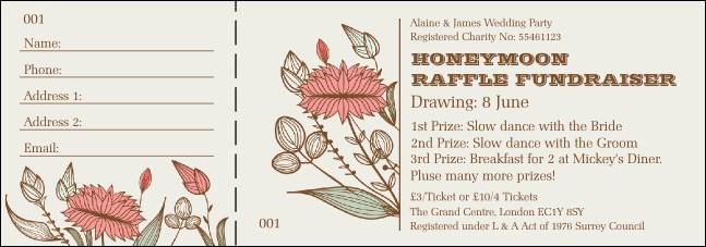 wedding flower raffle ticket